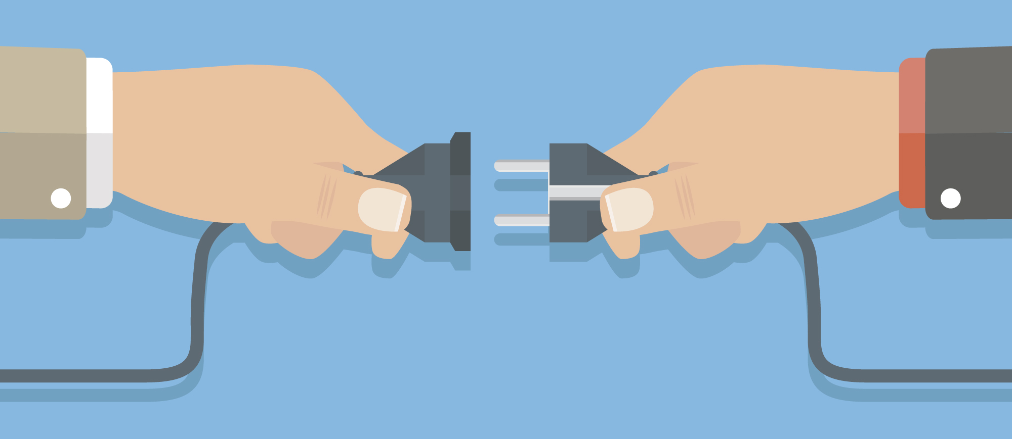 An image of a flat cartoon rendering of two hands plugin a plug into a socket