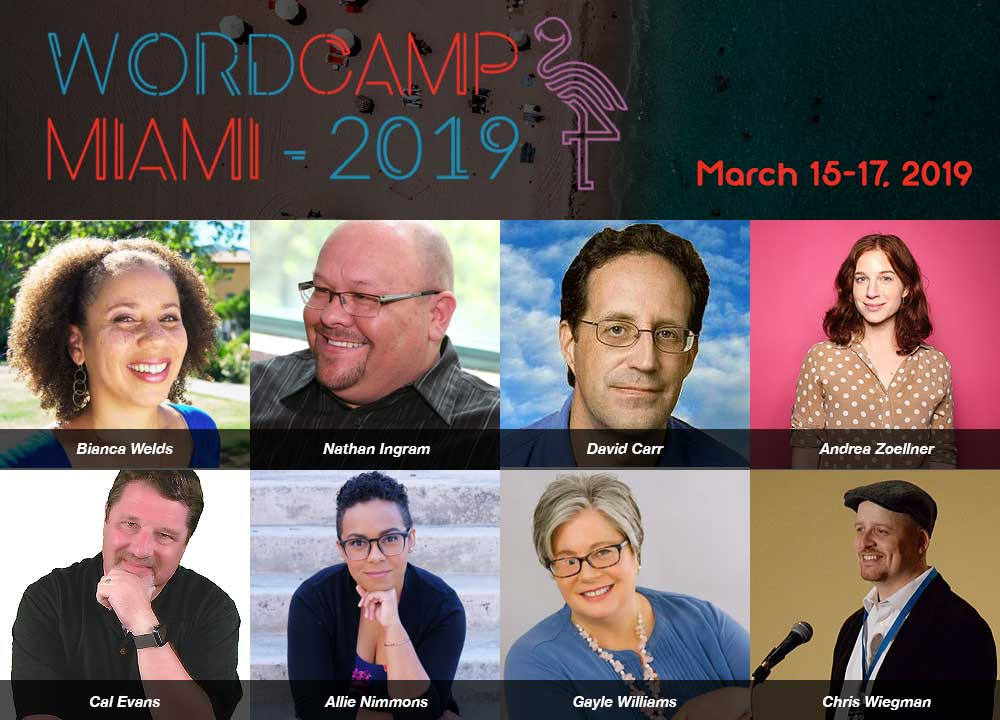 An image of some of the speakers from WordCamp Miami 2019, including Allie Nimmons