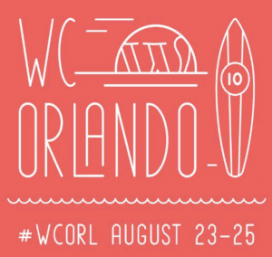 The logo for WordCamp Orlando, displaying a surfboard, sunset, and the #WCORL hashtag and dates August 23-25