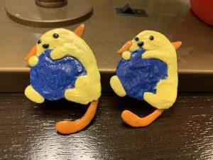two handmade wappu earrings