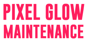 the bright pink logo for pixel glow maintenance, my business that provides wordpress maintenance to growing businesses